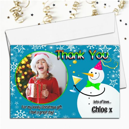 10 Personalised Christmas Snowman Thank you PHOTO Cards N51